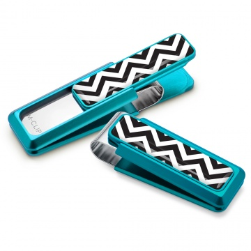 Teal with Chevron Inlay Money Clip