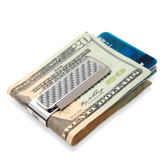 Stainless With White Carbon Fiber Money Clip