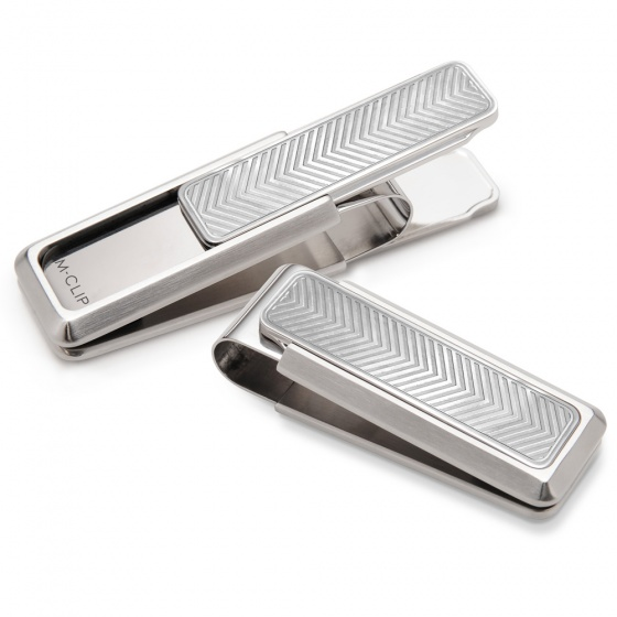 Stainless Brushed With Etched Chevron Money Clip