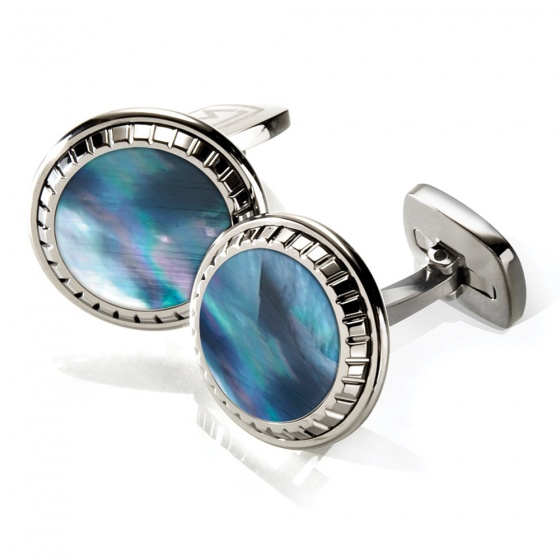 Gray Mother of Pearl Carved Round Cufflinks