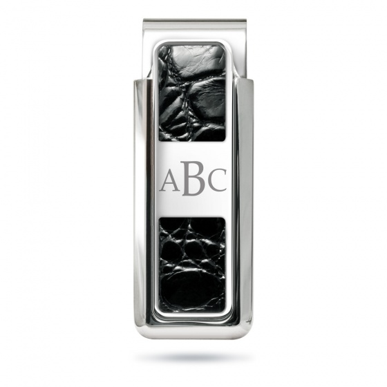 Monterey Rhodium Black Alligator 2 Pocket Money Clip