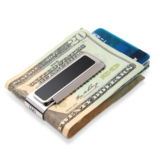 Stainless With Black Enamel Inlay Money Clip