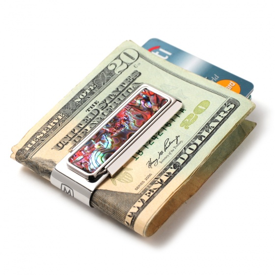 Mother of Pearl Orange Abalone Money Clip