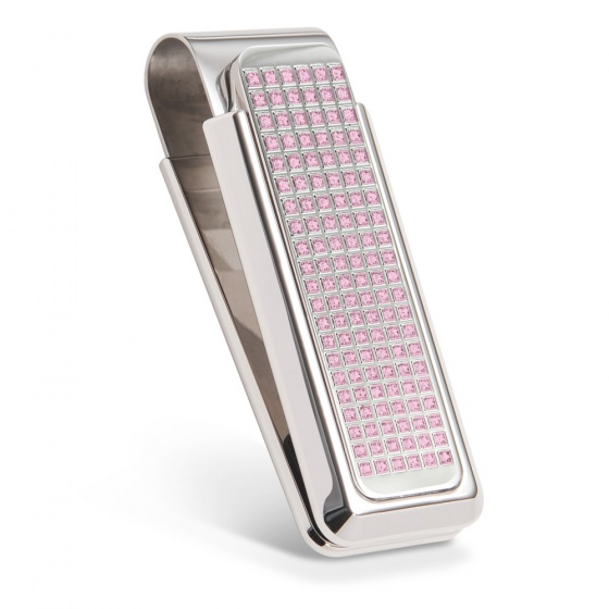 Pink Swarovski Crystal - 312 Stone Full Pave Money Clip
