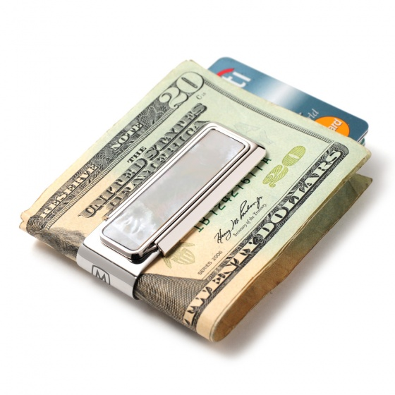 Mother of Pearl White Money Clip